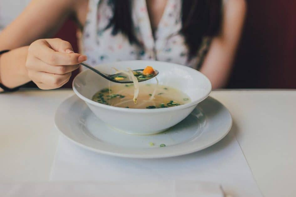 Eating soup